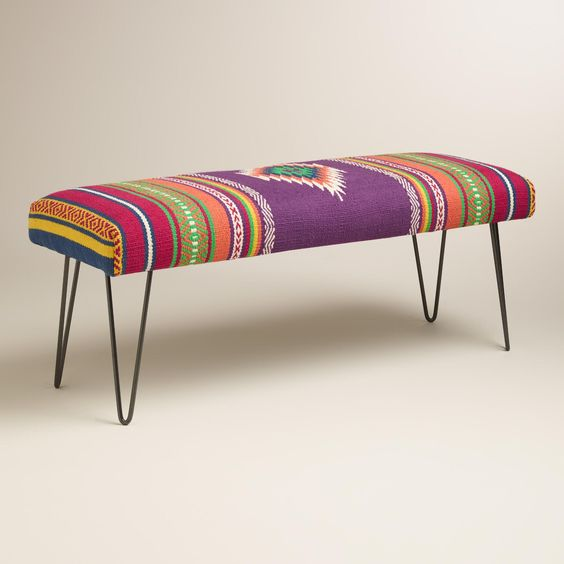 Our hairpin leg bench inspires a boho vibe with its cushioned seat covered with handwoven rug-like fabric in a Southwest print. >> #WorldMarket Living Room: