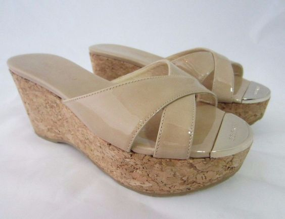 JIMMY CHOO Nude Patent Leather Cork Platform Wedge Sandals Size 35 #JimmyChoo #PlatformsWedges #Casual
