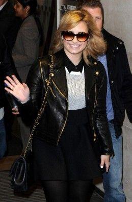 Demi Lovato black leather jacket