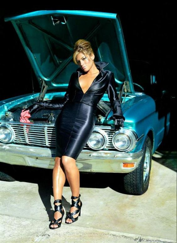 Eva Mendez   The hood of this car is erect for a reason.... hmmm what could possibly be the reason??