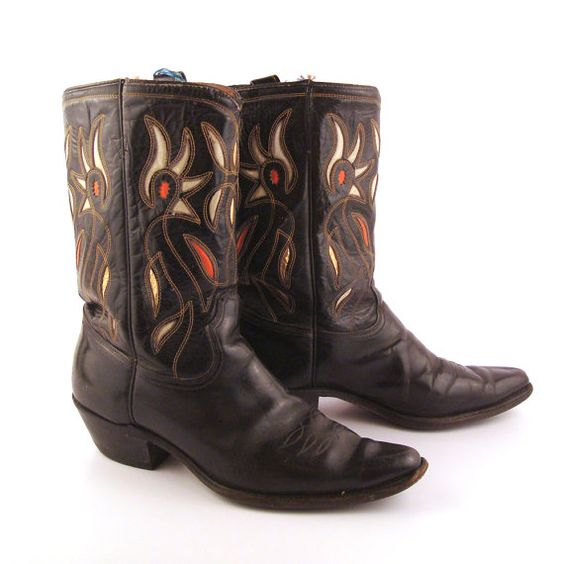Inlay Cowboy Boots Vintage 1950s Acme Black 50s Leather Men's 9 ...