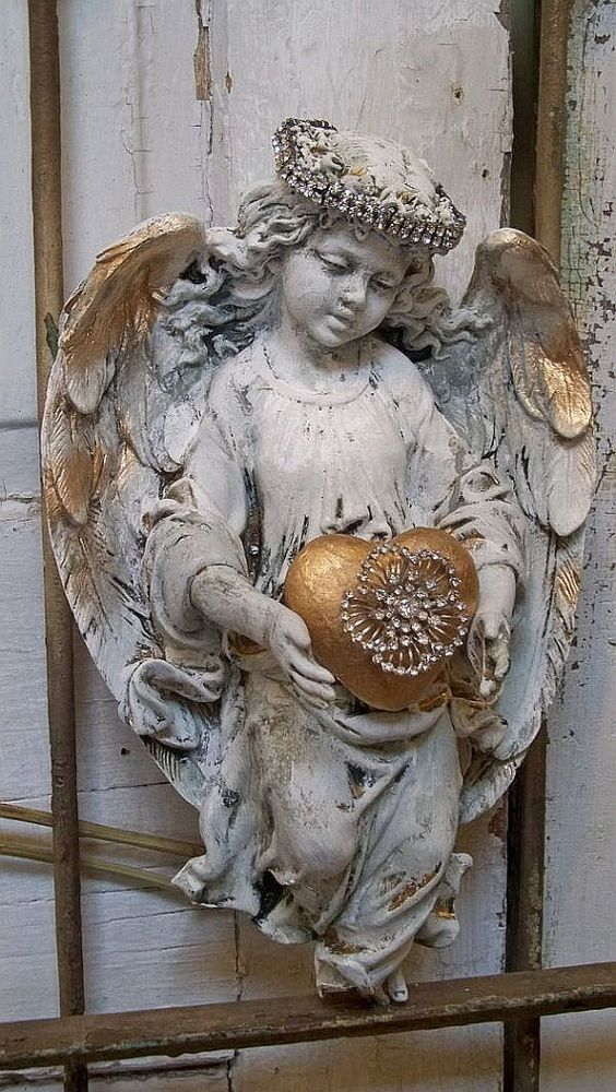 Angel Sculpture With Rhinestone Halo French Chic White