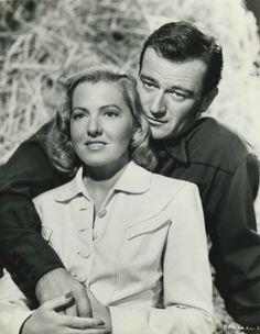 Jean Arthur and John Wayne