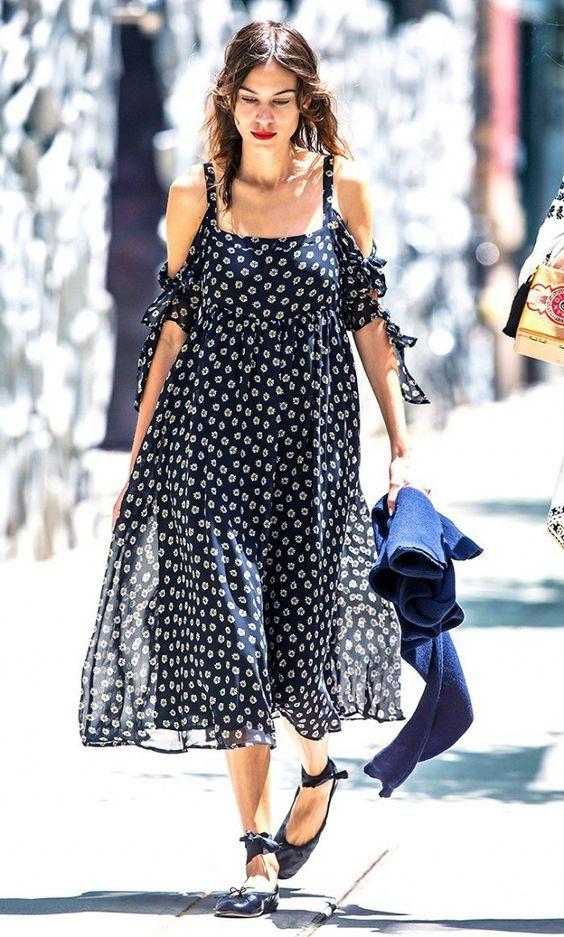 cold shoulder-spring maxi dress-daisy print-ballet flats-alexa chung-wwww