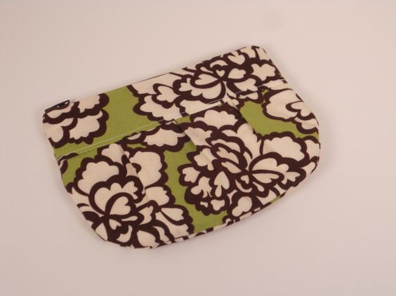 Green with Cream and Brown Flowers Pleated Leigh by abigailleigh, $14.00
