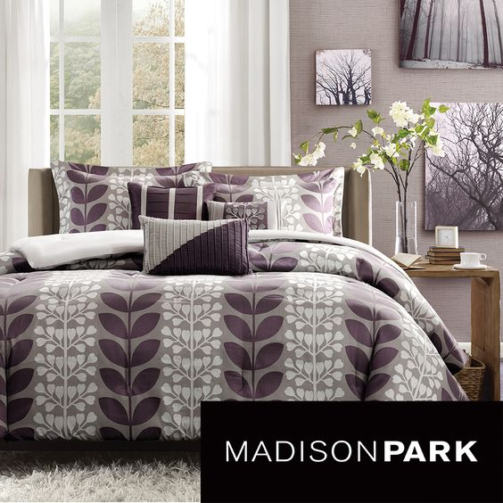 Update the look of your bedroom with this eye-catching seven-piece comforter set. The contemporary style features a tranquil plum-leaf motif, that will turn your bedroom into a garden oasis. The set is made of polyester for added comfort.