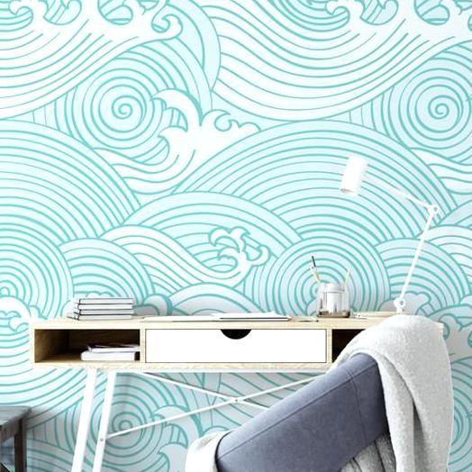 Ocean Dream Waves Watercolor Wall Mural Nautical Peel And Stick Wallpaper Wall Mural Japanese St Wall Murals Mural Temporary Wallpaper
