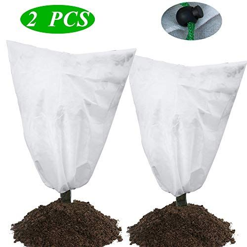 Zrosin Pack Of 2 Plant Covers Freeze Protection Bags 47 55 Heavy Duty Winter Shrub Cover Warm Worth Frost Protection Cover Blanket Jacket With Br Freeze Protection Winter Shrubs Plant Covers