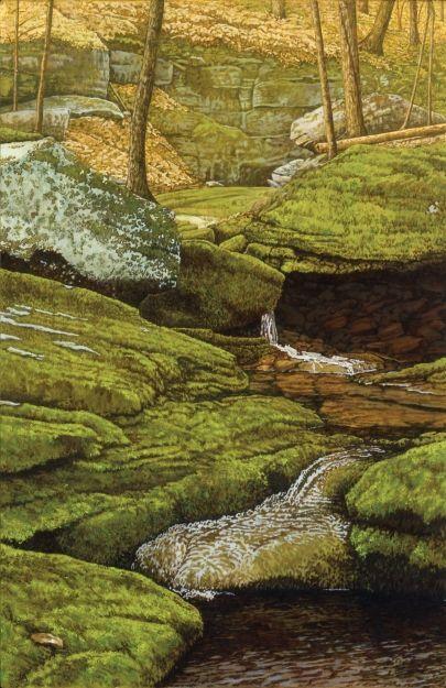 """""""Catskill Creek,"""" Judy Alderfer-Abbott, oil on board, 17 1/2 x 11 1/2"""", Albany Institute of History & Art."""