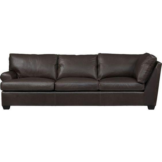 Crate & Barrel Ellis Leather Left Arm Corner Sofa ($4,199) ❤ liked on Polyvore