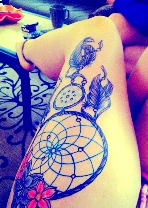 36 meaningful dreamcatcher tattoo designs dream catcher for Meaningful thigh tattoos