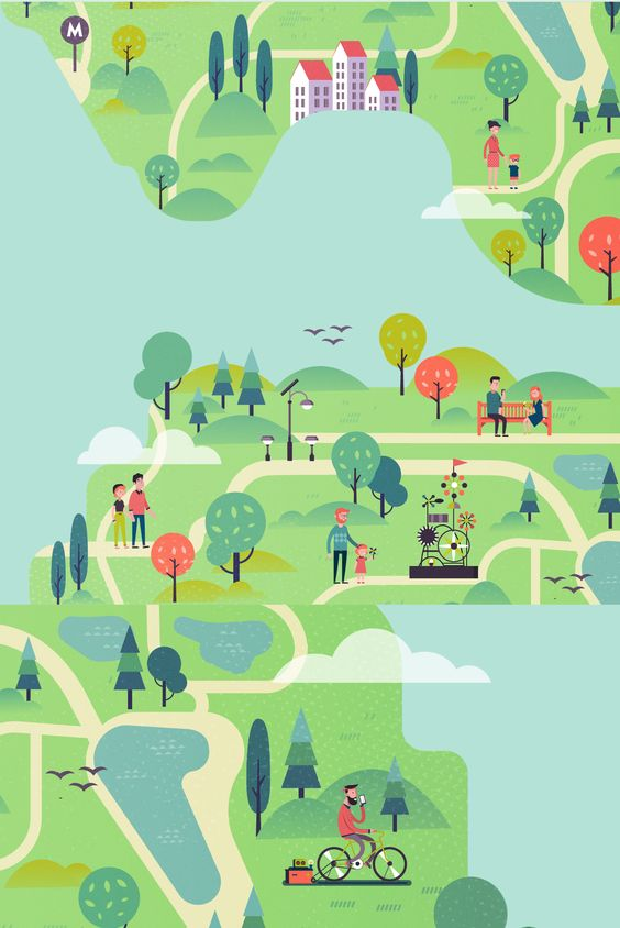 This illustrations was created for promo website and motion video of new great park space in Kiev, Ukraine. Project website ecopark.com.ua