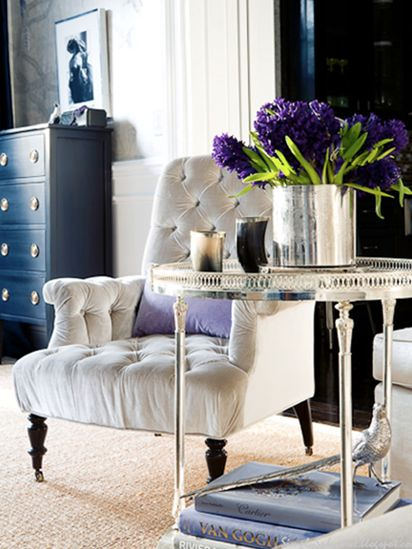 inspiration - deep blue gloss furniture, accents of dark wood and glitzy metals