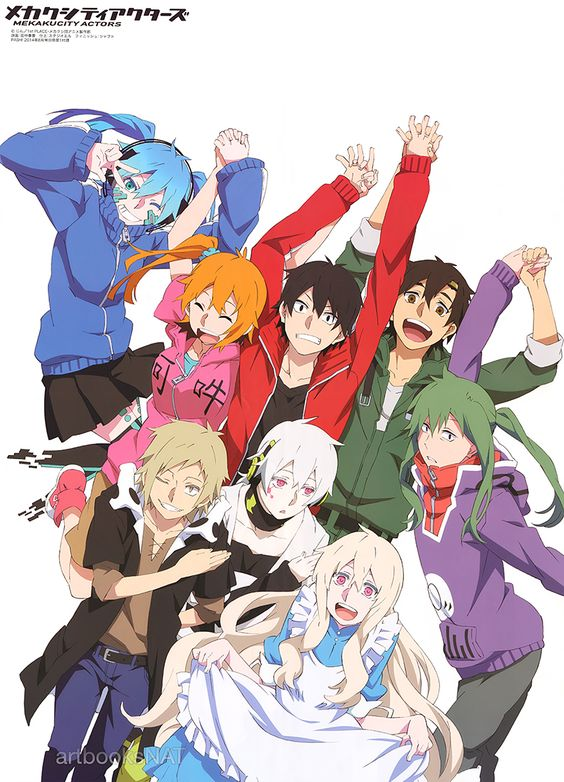 Huge group poster for Mekakucity Actors (メカクシティアクターズ) in PASH! Magazine (08/2014) illustrated by key animator Haruka Tanaka (田中春香). Take a bow, the show is over!