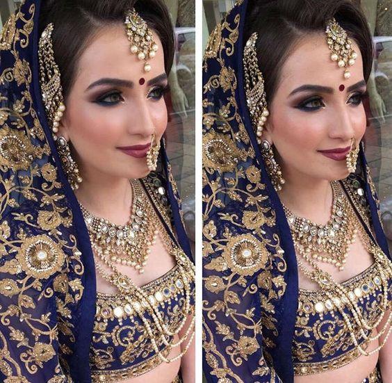 Smokey eyes and nude lips. Asian bridal look