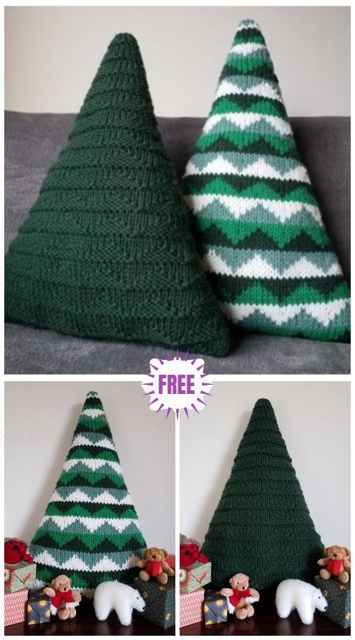 Knit Christmas Tree Cushions Free Knitting Pattern Christmas