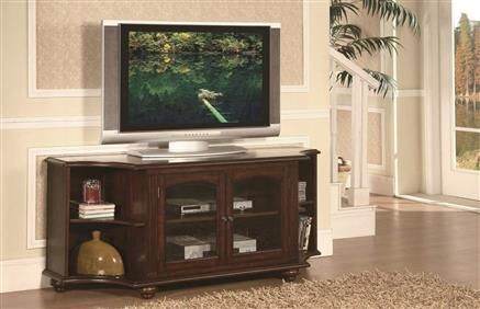 Piedmont Classic Warm Brown Cherry Wood Glass TV Stand