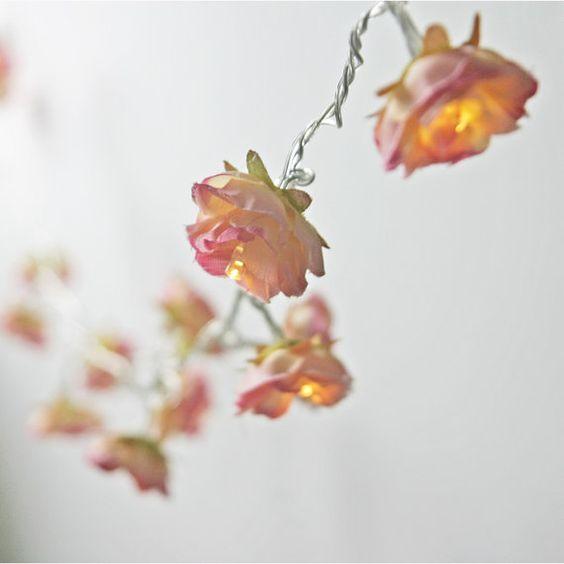 Rhubarb and Custard Shabby Rose Fairy String Lights Flower Battery Fairylights Table Decor ...