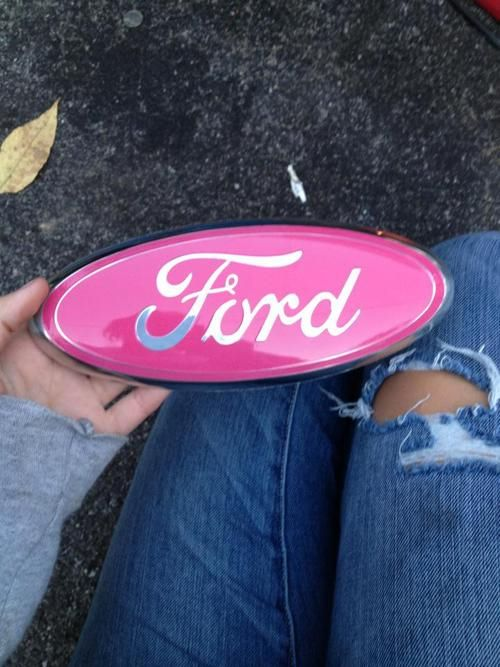 Pink ford emblem. (I wonder how long it would take for my hubby to see this on the truck) lol