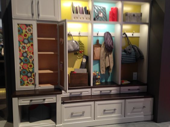 A very happy mudroom with some fun ideas for cabinets from #MasterbrandCabinets