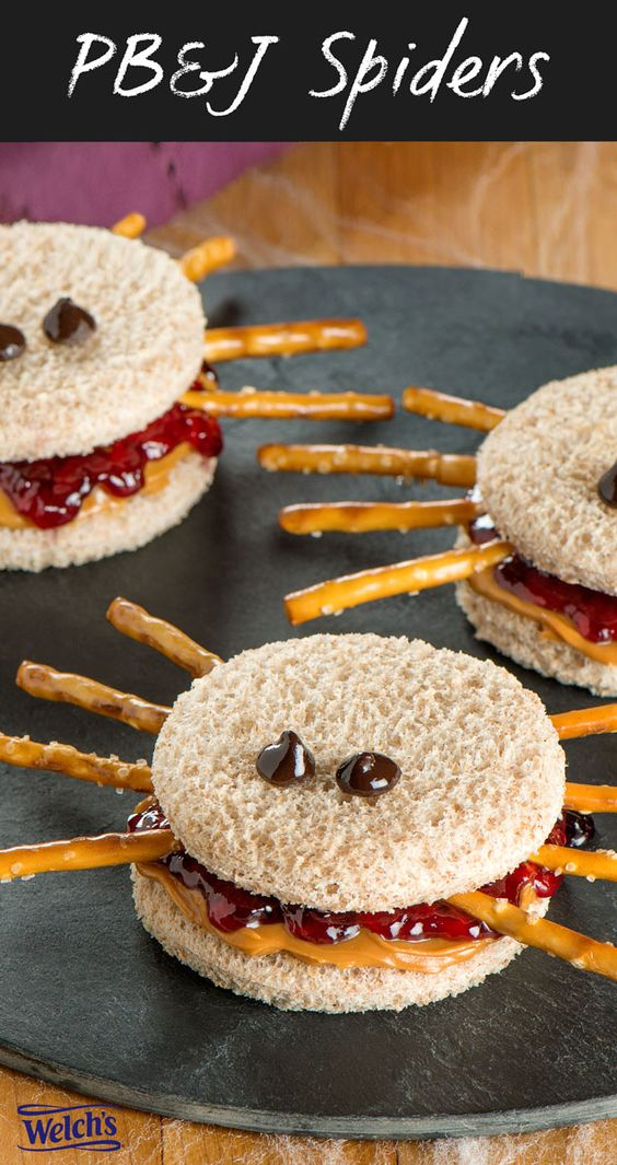 Fun Halloween Snack or Lunch idea - Peanut Butter and Jelly Spider Sandwiches. PB&J Spiders. On the Welch's Blog!:
