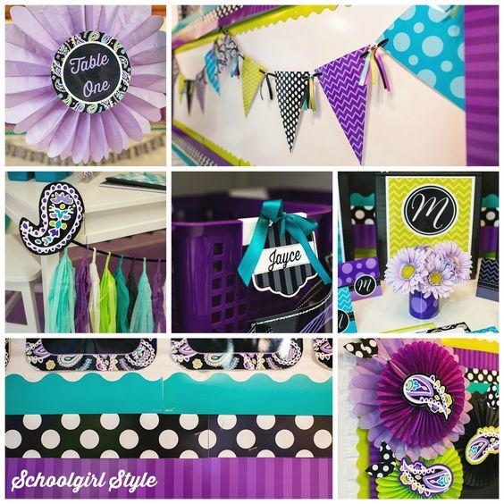 Purple Paisley Collage Classroom Setup Pinterest