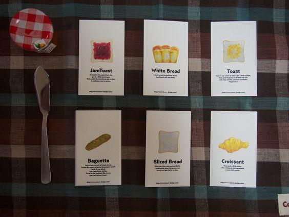 パンのイラストで作ったカード集