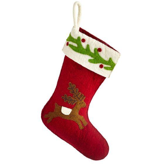 Red Running Reindeer Stocking - NEW