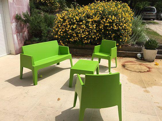 Banc de jardin \'PLEMO XL\' vert en matière plastique