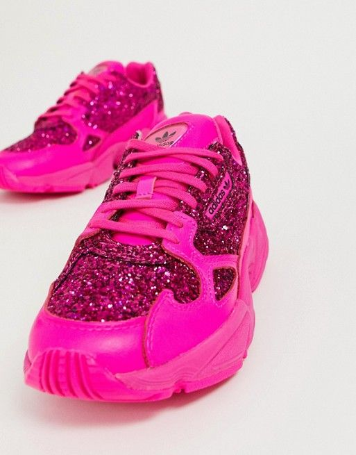 Adidas Originals Adidas Originals Premium Pink Glitter Falcon Trainers Pink Adidas Pink Sneakers Glitter Outfit