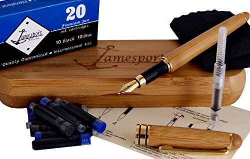 100/% Handcrafted Bamboo Vintage Collection with Ink Premium Quality R Antonio Da Parra Fountain Pen Calligraphy Writing Set Case Gold Medium nib