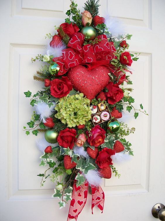 Valentine heart swag front door decor pinterest for 3 wreath door decoration