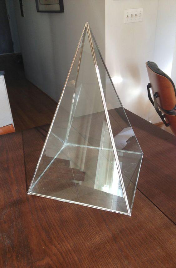 Glass & Metal Pyramid Display Case / Terrarium / Jewelry by Aptare