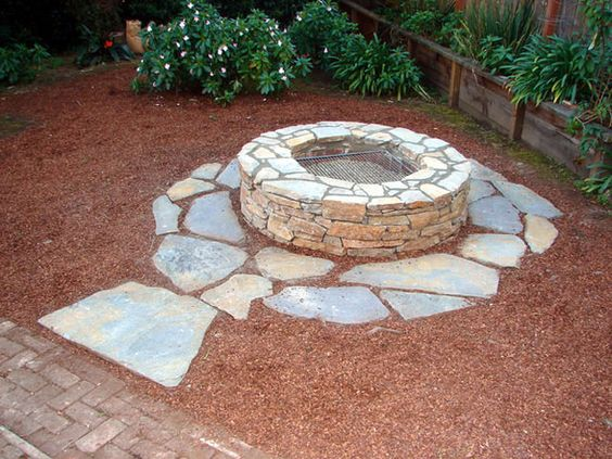 DIY firepit! Love the stone around the outside.
