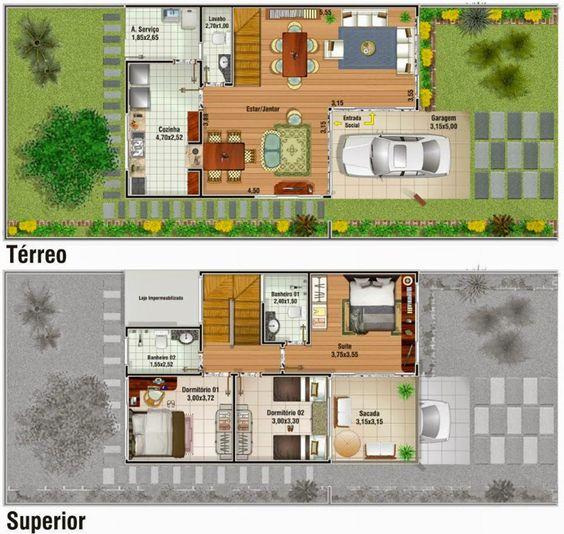 Para quem tem pouco espaço no terreno e deseja construir uma casa confortável, poderá optar pelos modelos de Plantas de casas duplex.