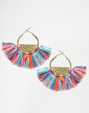 Glamorous Semi Circle Hoop Tassel Earrings