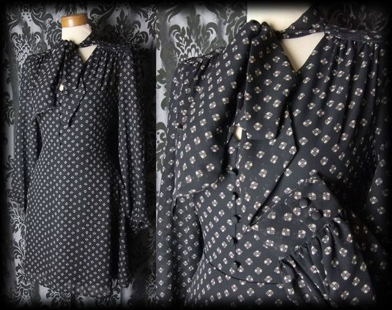 Gothic Black Tiny Button 40 s MOROSE Pussy Bow Tea Dress 10 12 Victorian Vintage - £36.00