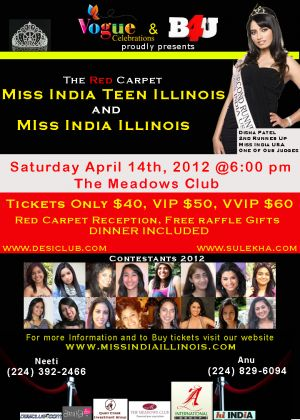 First ever Miss India Teen Illinois and Miss India Illinois: april 14th 2012