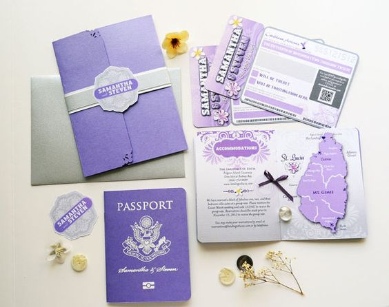 Passport Invitation with Boarding Pass RSVP Card | Invitations ...