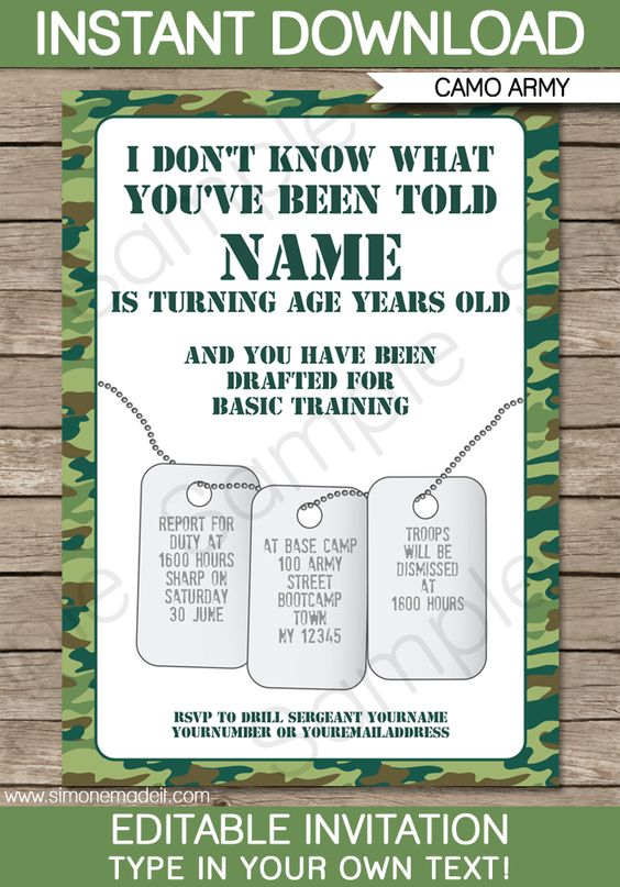 Camps army birthday parties and birthdays on pinterest for Camouflage party invitation template