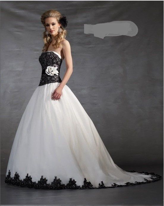 Black and White Corset Wedding Dress - ... White and Black Lace ...