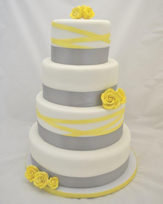 Grey and Yellow Ribbon Wedding Cake