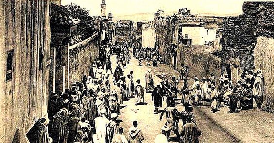 Taza, Morocco. Vintage Postcard - Aissouas gathering in the Street, c 1910s.