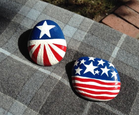 Celebrate the Nation! Hand Painted Rock - 4th of July | Hand ...