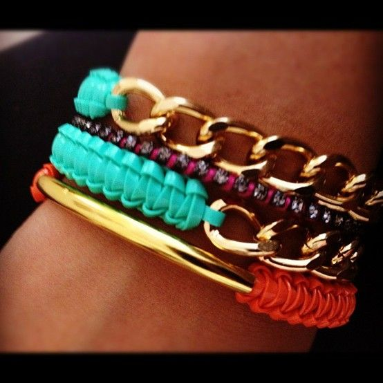 .: Arm Candy, Colorful Bracelets, Jewel, Coral Gold, Gold Bracelets, Armcandy, Pretty Bracelets, Arm Candies