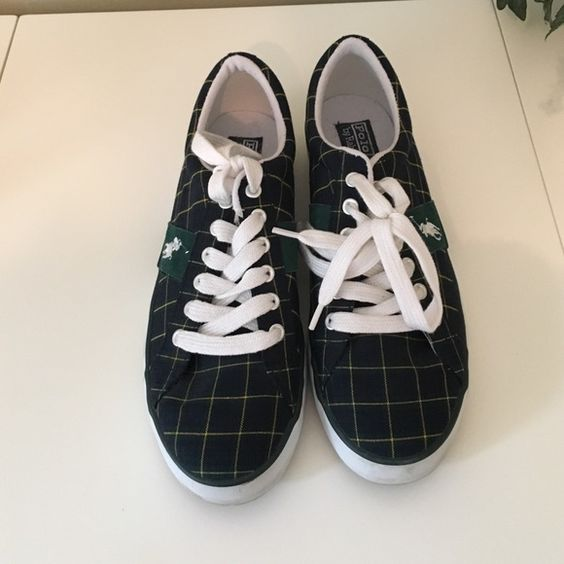 Ralph Laure Polo Sneakers Navy/green plaid.  Very little wear. Ralph Lauren Shoes Sneakers