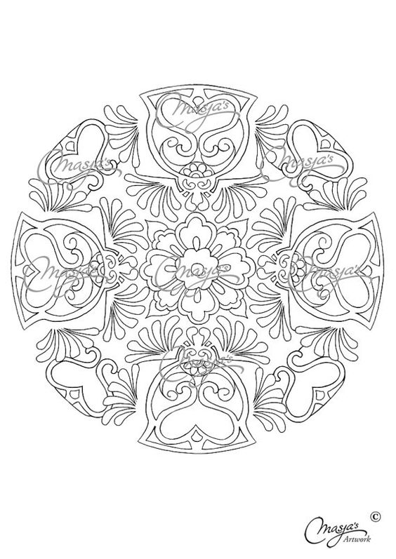 Masjas mandala coloring page 4 made by masja van den berg for Love mandala coloring pages