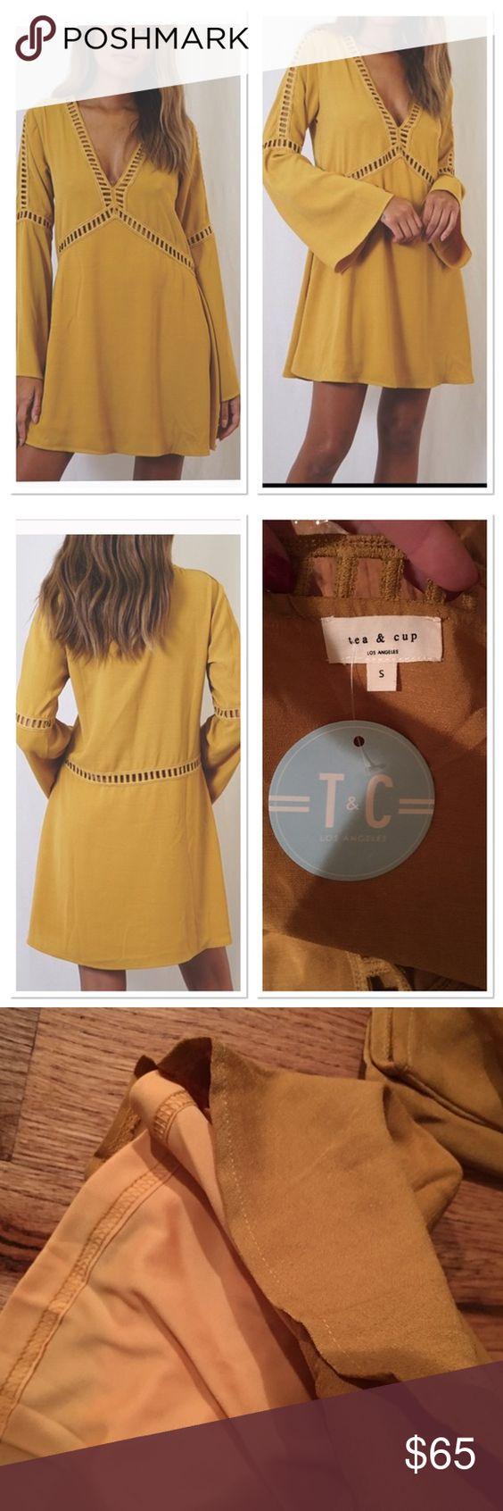 Tea n cup mustard yellow peasant dress bell sleeve nwt bell