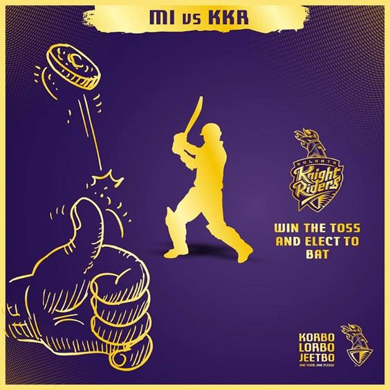 #KKR win the toss and elect to bat.  #KorboLorboJeetbo #OneTeamOnePLedge #AllTheBestKKR