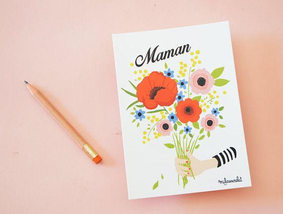 Carte Postale Maman Carte 148 cm X 105 cm. Bouquet de